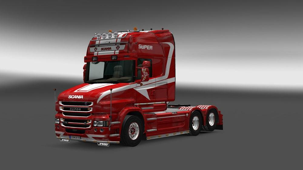 SCANIA T Red & White Skin | ETS2 Mods