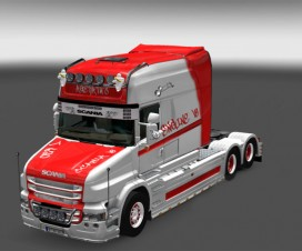 Scania T Longline Red/White Skin | ETS 2 Mods