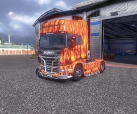 Scania R2009 Flame Skin   ETS 2 Mods