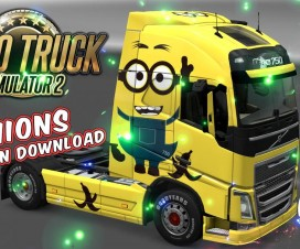 Volvo FH 2012 and 2013 (ohaha) Minion Skin + Trailer | ETS 2 Mods