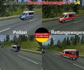 GermanLKW's AI-Traffic Pack German Rescue Cars V3 | ETS 2 Mods