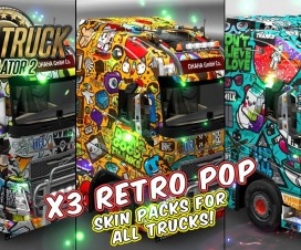 Retro Pop Skin Packs for All Standard Trucks + 3 Custom Trucks | ETS 2 Mods