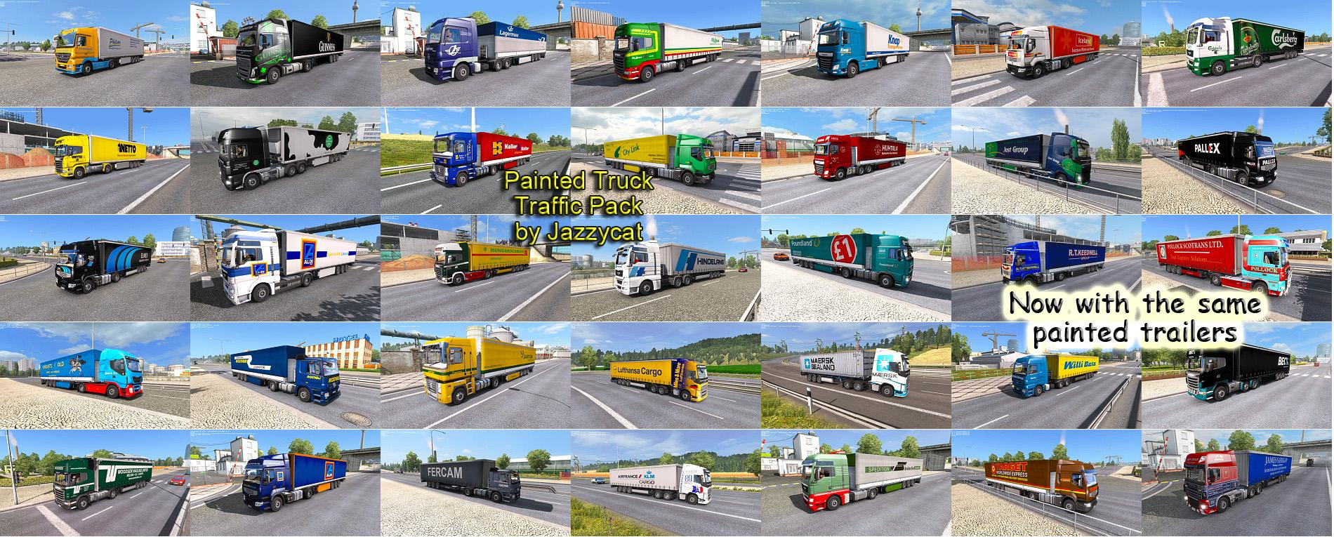 painted truck traffic pack by jazzycat v2 0 ets 2 mods