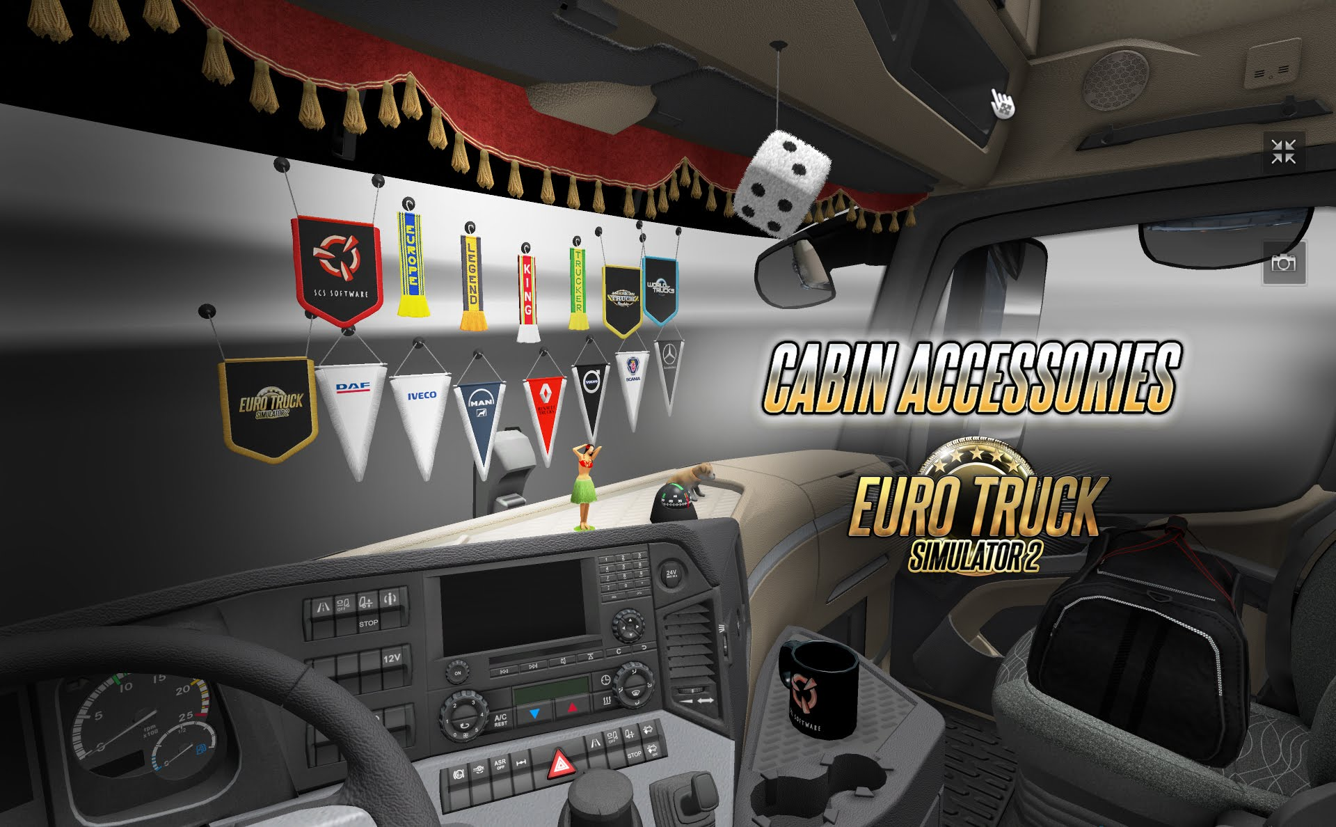 euro truck simulator 2 cabin accessories dlc ets2 mods. Black Bedroom Furniture Sets. Home Design Ideas