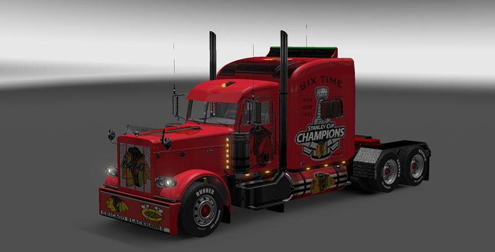 Peterbilt 389 Chicago Black Hawks Skin Ets2 Mods
