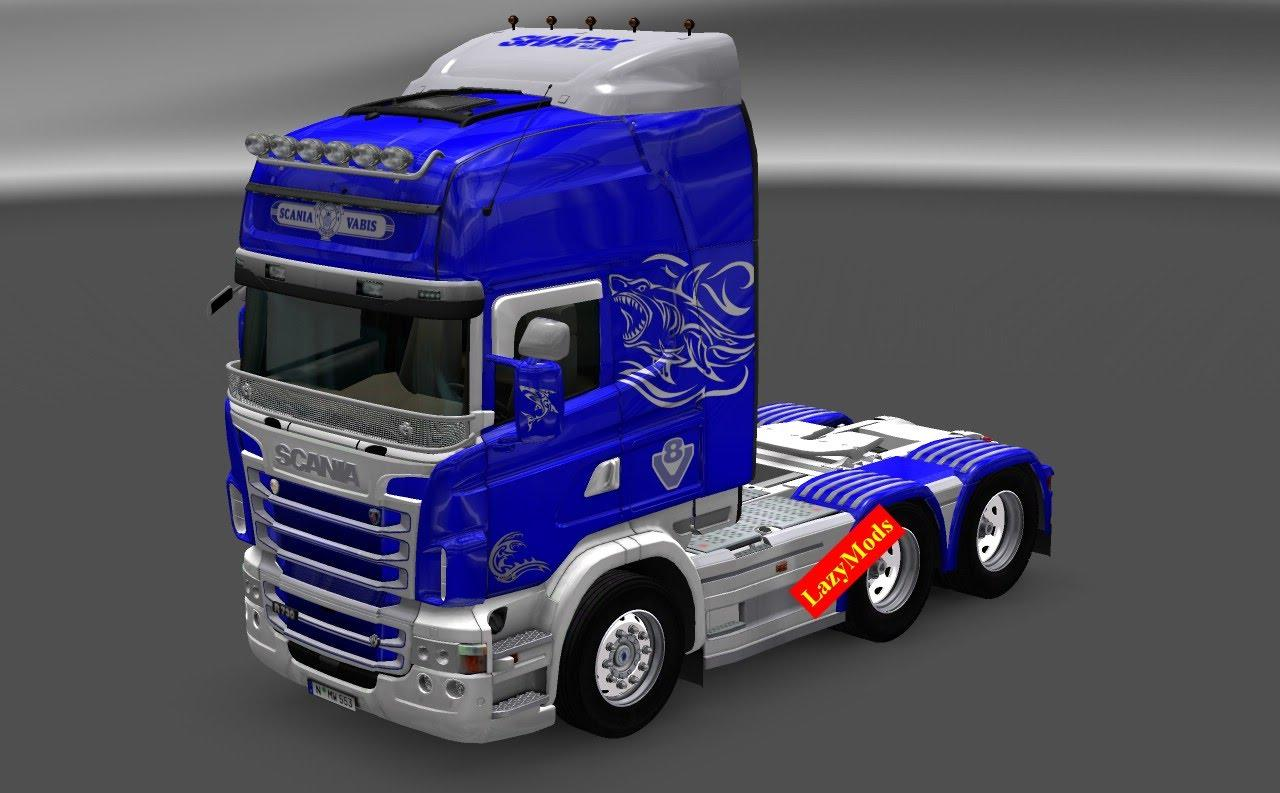 scania rjl v shark mask paintjob lazymods ets mods