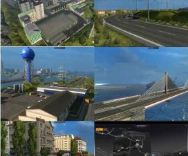 ets2 Bridge Calais – Dover and town on the island