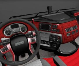 DAF XF Euro 6 Red Wood Interior v1