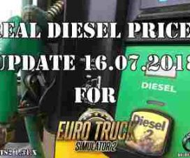 Real Diesel Prices for ETS2 map (16.07.2018)
