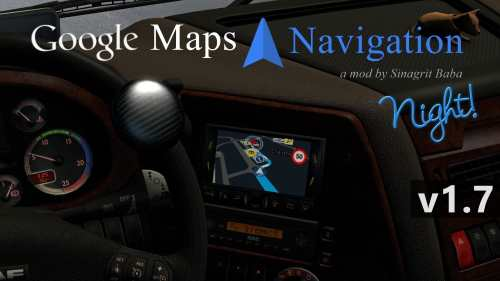 ETS 2 – Google Maps Navigation Night Version v1.7